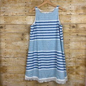 Vineyard Vines Blue White Striped Fringe Dress NWT